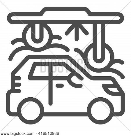 Process Of Washing Car In Tunnel Car Wash Line Icon, Car Washing Concept, Automatic Vehicle Wash Ser