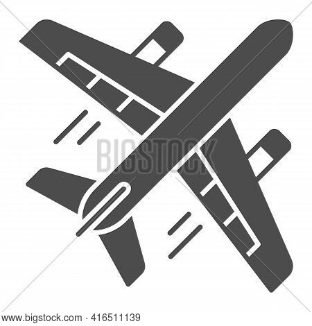Airplane Flight Solid Icon, Airlines Concept, Plane In Flight Vector Sign On White Background, Airpl