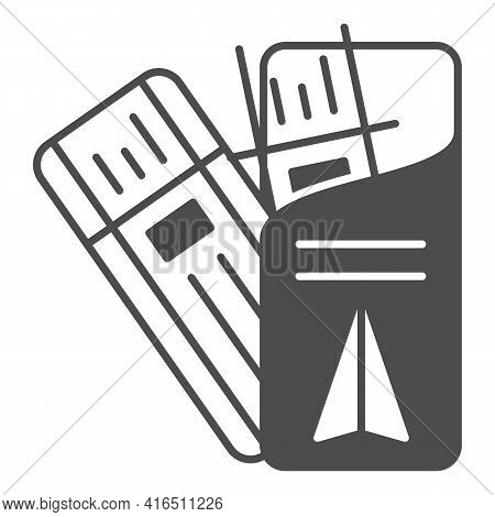 Airplane Tickets Solid Icon, Airlines Concept, Tickets Control Vector Sign On White Background, Plan