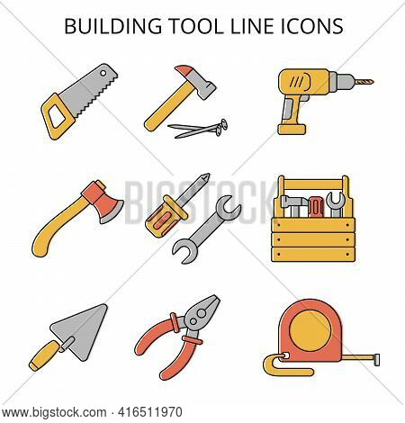 Hand Locksmith Tools. Set Of Vector Sketch In Flat Style