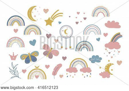 Vector Boho Clipart For Nursery Decoration With Cute Rainbows And Moon, Cloud, Dream Catcher. Doodle