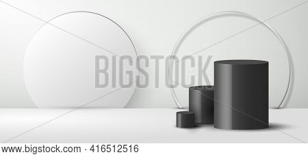 3d Realistic Empty Minimal Black Cylinder Shape And White Backdrop On Clean Studio Room Background M