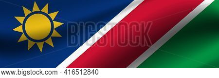Banner With The Flag Of Namibia. Fabric Texture Of The Flag Of Namibia.