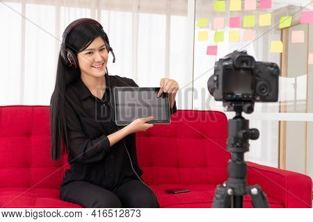 Vlog Asian Woman Blogger Influencer Sitting On The Sofa In Home And Recording Video Blog For Teachin