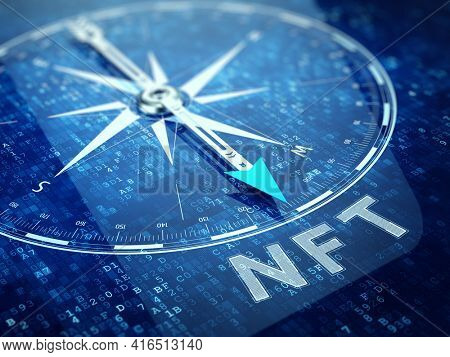 NFT nonfungible tokens concept - Compass pointing NFT word on abstract technology background. 3d rendering