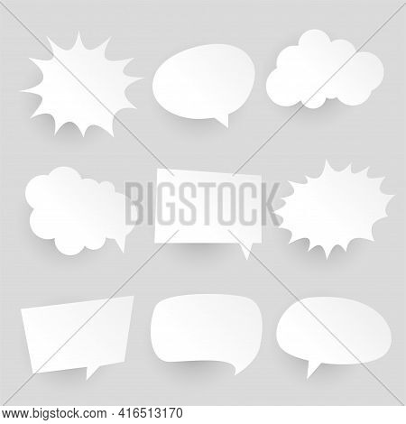 Papercut Style Comic Chat Bubbles And Expressions