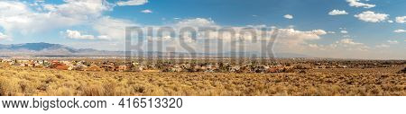 Southwest Living. Albuquerque Metro Area Residential Panorama With The View Of Sandia Mountains On T