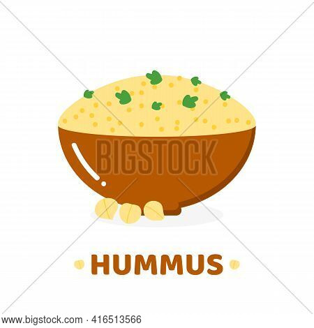 Vector Cartoon Style Icon, Illustration With Bowl Of Hummus, Traditional Middle East Spread Made Of