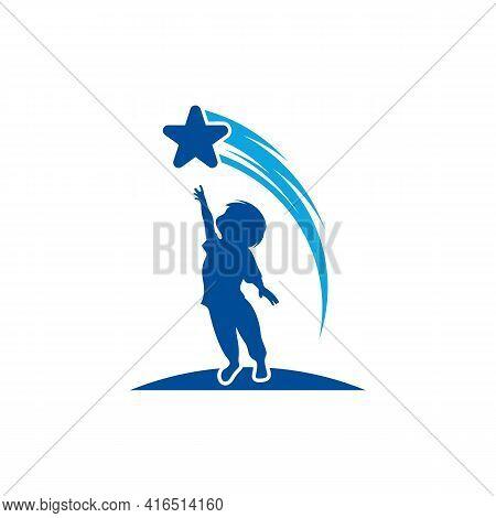 Kids Dream Logo Design Vector Illustration, Creative Dream Kids Logo Design Concept Template, Symbol