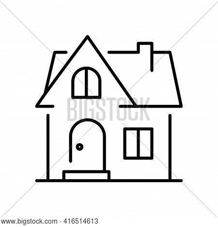 Monochrome Simple House Building Icon Vector Illustration Home Private Or Commercial Dwelling