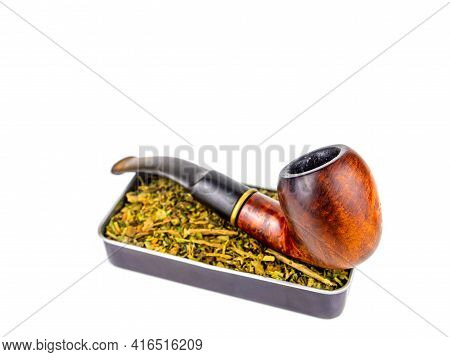 Tobacco Pipe And Snuff Box On A White Background. Wooden Pipe For Smoking. Tobacco In A Snuffbox. Sm