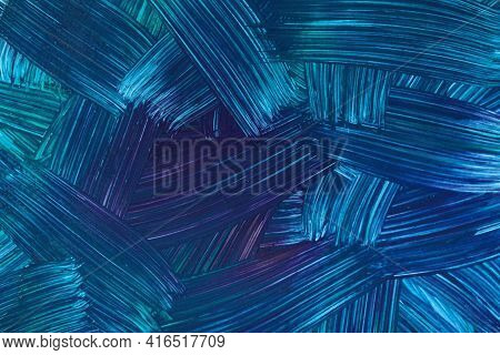 Abstract Art Background Navy Blue And Cerulean Colors. Watercolor Painting On Canvas With Dark Turqu