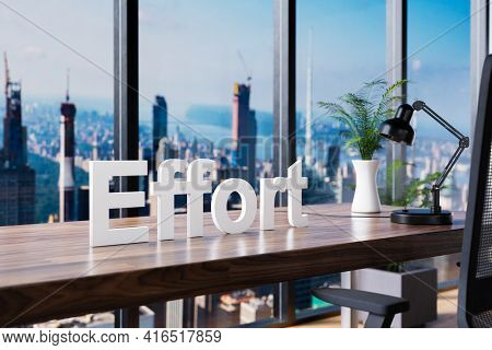 Effort; Office Chair In Front Of Workspace And Panoramic Skyline View; Career Concept; 3d Illustrati