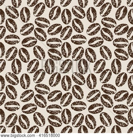 Coffee Bean Pattern With Seamless Grunge Effect For Coffee Shop Background, Cafe Decoration, Dining