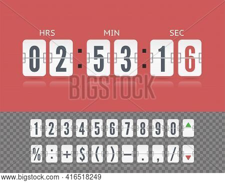 Vector Vintage Flip Clock Time Counter. Scoreboard Number Symbol Font. White Analog Board Countdown