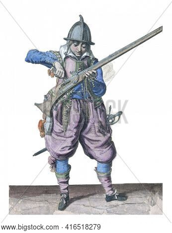 A Soldier, Full-Length pour powder from a powder bottle into the pan (the powder container) of a rudder, vintage engraving.