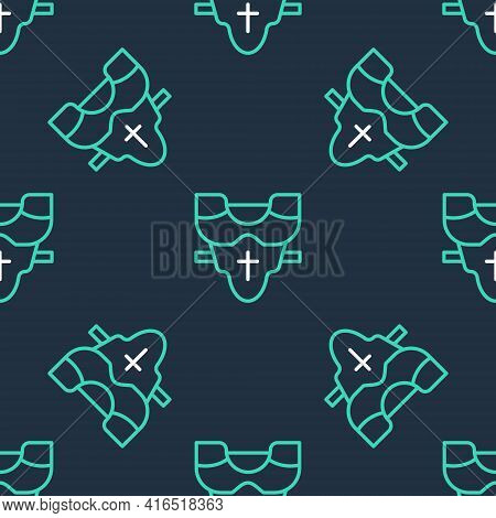 Line American Football Player Chest Protector Icon Isolated Seamless Pattern On Black Background. Sh