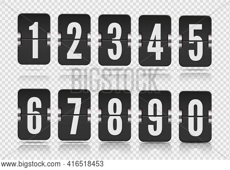 Vector Template With Flip Scoreboard Numbers And With Reflections Floats On Different Heights For Bl