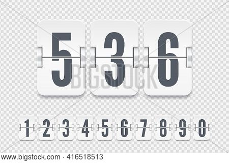 Set Of White Flip Score Board Number With Shadows For Countdown Timer Or Calendar. Vector Template F