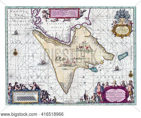 Map of Tierra del Fuego, Pieter Schenk, vintage engraving.