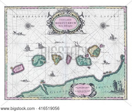 Map of the North Moluccas, Pieter Schenk, vintage engraving.