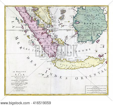 Map of the Kingdom of Siam, vintage engraving.