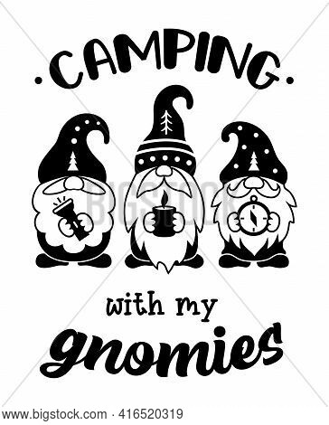 Three Cute Gnomes In Hats And With A Beard Are Camping. Summer Travel Family Design. Emblems, Signs