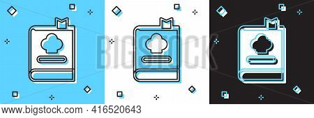 Set Cookbook Icon Isolated On Blue And White, Black Background. Cooking Book Icon. Recipe Book. Fork