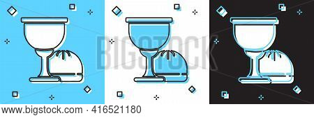 Set Holy Grail Or Chalice Icon Isolated On Blue And White, Black Background. Christian Chalice. Chri