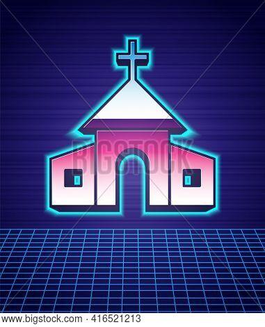 Retro Style Church Building Icon Isolated Futuristic Landscape Background. Christian Church. Religio