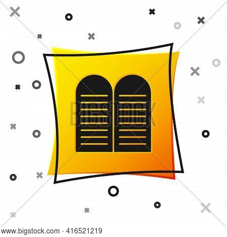 Black The Commandments Icon Isolated On White Background. Gods Law Concept. Yellow Square Button. Ve