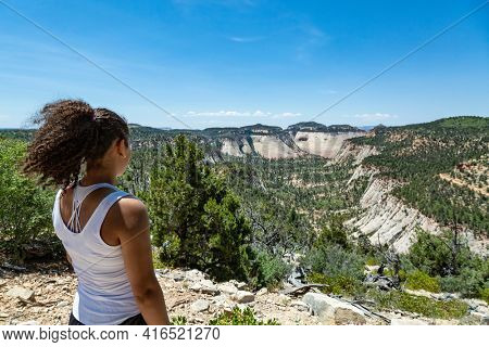 Rear view of an African American woman looking at a scenic view of Zion National Park Utah USA. Overlooking a beautiful view in Zion National Park