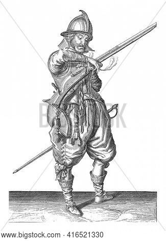 A soldier on guard, full-length , to the right, holding a rudder (a type of firearm) with his left hand. In his left hand, in addition to the rudder, also a burning wick, vintage engraving.