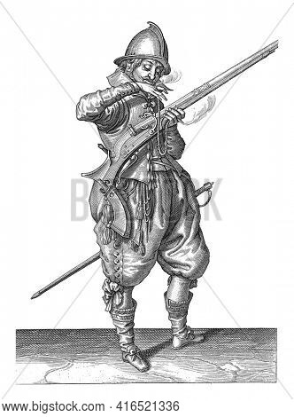 Soldier on Watch with a Rudder Bringing His Wick to His Mouth to Blow It Clean, vintage engraving.