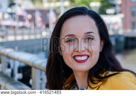 Beautiful smiling  business woman outdoor portrait with copy space