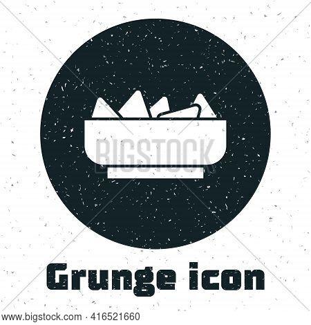 Grunge Nachos In Bowl Icon Isolated On White Background. Tortilla Chips Or Nachos Tortillas. Traditi