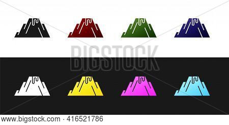 Set Volcano Eruption With Lava Icon Isolated On Black And White Background. Vector