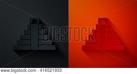 Paper Cut Chichen Itza In Mayan Icon Isolated On Black And Red Background. Ancient Mayan Pyramid. Fa