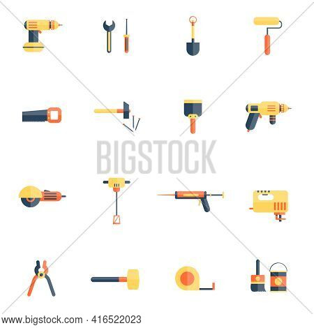 Color Tools For Repair And Home Improvement In Pastel Color Vector Illustration