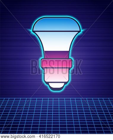 Retro Style Led Light Bulb Icon Isolated Futuristic Landscape Background. Economical Led Illuminated