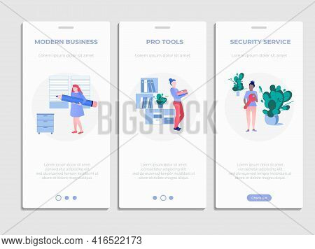Modern Business Service Onboard Page Templates Set