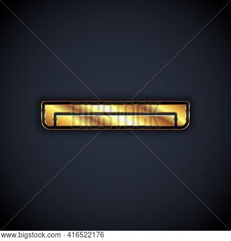 Gold Long Luminescence Fluorescent Energy Saving Lamp Icon Isolated On Black Background. Vector