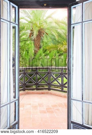 View of palm garden and  terrace through door. Garden view room. Travel, resort, vacation and holiday concept. Beautiful tropical palm view at door in resort