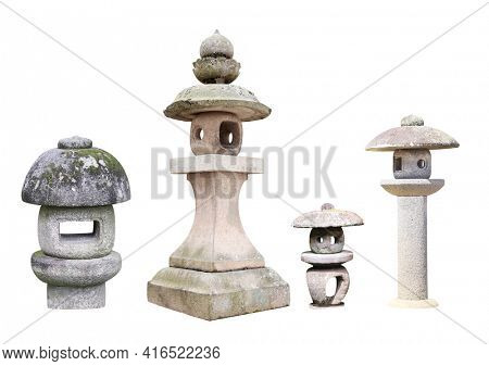 Set of traditional Japanese stone lanterns. Collection of oriental old stone lantern. Isolated on white background