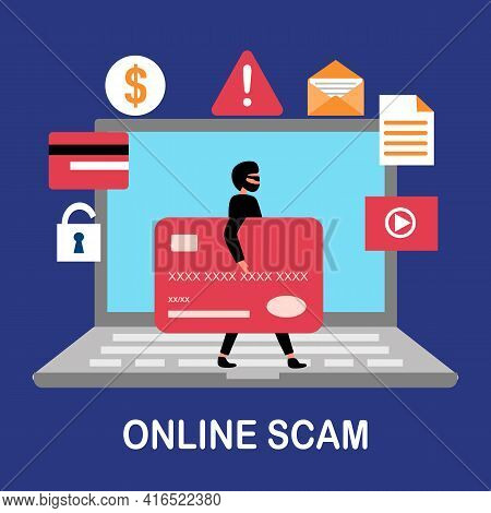 Internet Hacker Stealing Money And Personal Data From Website Computer. Cybercrime. Online Payment S