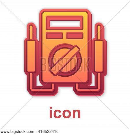 Gold Ampere Meter, Multimeter, Voltmeter Icon Isolated On White Background. Instruments For Measurem