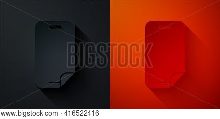 Paper Cut Glass Screen Protector For Smartphone Icon Isolated On Black And Red Background. Protectiv