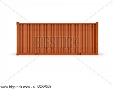 Shipping Cargo Container for Logistics and Transportation Isolated, Cargo Box from Ship, Delivery, Shipping Freight Transportation of Merchandise, for Storage, Export and Import Goods 3d Illustration