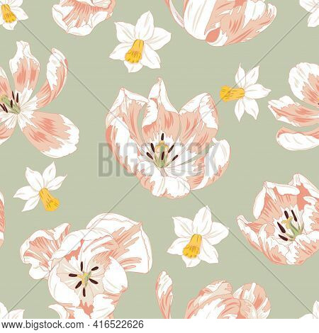 Pink Tulips And Daffodils, Spring Flowers, Seamless Vector Background
