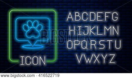 Glowing Neon Map Pointer With Veterinary Medicine Hospital, Clinic Or Pet Shop For Animals Icon Isol